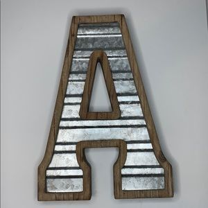 Rustic wood and tin Letter A